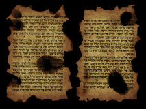 Old holy scripts. Holy bible in Hebrew isolated on black Royalty Free Stock Photography