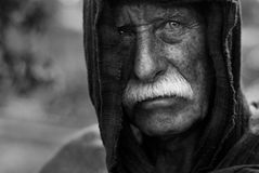 Old homeless man royalty free stock photography