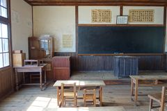 A homeroom of an old Japanese elementary school royalty free stock photos