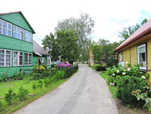 Old homes and flowers, Lithuania Royalty Free Stock Photography