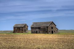 Old Homestead. This old homestead is abandoned and sits in the middle of a wide open prairie royalty free stock photo