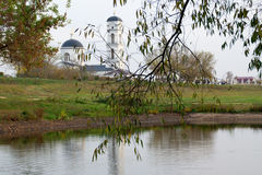 Old homestead. Beautiful lake and church in the old manor house Royalty Free Stock Photography
