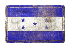 Old Honduras flag. 3d rendering of a Honduras flag over a rusty metallic plate. Isolated on white background Stock Photography