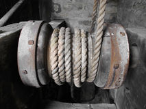 Old horizontal wooden windlass. Royalty Free Stock Photography