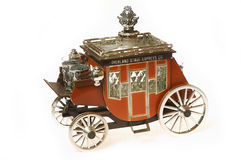 Old horse carriage model. On white royalty free stock photo