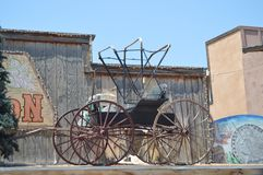 Old Horse Carriage At A Oatman Hotel On Route 66. royalty free stock images