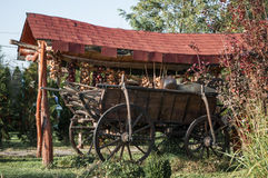An old horse cart decorated with onion ropes Royalty Free Stock Photo