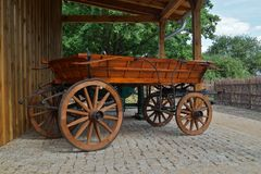 Old horse-drawn carriage in retro style Royalty Free Stock Images