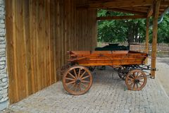 Old horse-drawn carriage in retro style Stock Image