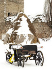 Old horse drawn carriage in the snow Stock Images