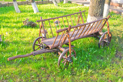 Old horse drawn wagon. On display at a public scenic walk stock image