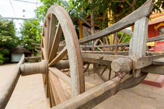 Old horse drawn wooden cart on display in Siem Reap, Cambodia stock photo
