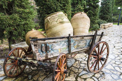 Old horse drawn wooden cart Stock Images