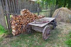 Old horse drawn wooden cart at the russian village Royalty Free Stock Images