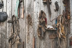 Old horse harness and other retro accessories and tools hanging on the wall of old stables, matte toning effect Royalty Free Stock Images