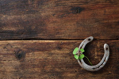 Old horse shoe,with clover leaf Royalty Free Stock Image