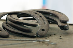 Old horse shoes Stock Photos