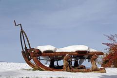 An old horse sledge in winter Stock Photos