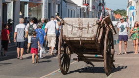 Old horse trailer on display in the city. Challans, France - August 11, 2016 : event Once Challans Autrefois Challans organized by the city and plunges visitors Stock Photos