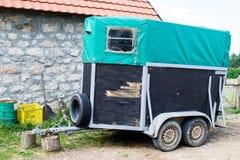 Old Horse transport box trailer.  Stock Photo