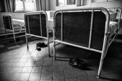 Old hospital beds. Detail of old hospital for patients stock photography