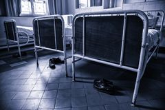 Old hospital beds. Detail of old hospital for patients stock image