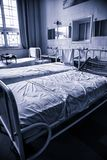 Old hospital beds. Detail of old hospital for patients royalty free stock photo