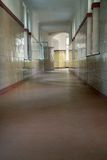 Old hospital hallway. Old and long hospital corridor Stock Image