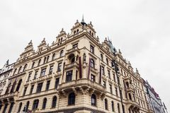 Old hotel building in dramatic colors stock photography