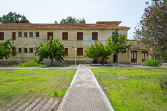 Old hotel buildings at Kaiafas lake, Greece. View of old hotel and thermal spa buildings at Kaiafas lake in western Peloponnese, Greece stock images