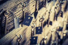 Old hotel with keys for rooms Royalty Free Stock Photos