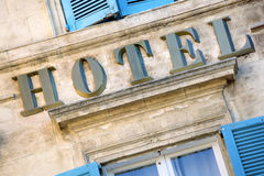 Old hotel sign South of France, provence rustic style, traditional window shutters Stock Photo