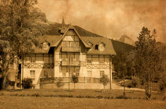 Old hotel in Slovakia. Old hotel in High Tatras region in Slovakia. Aged photo effect royalty free stock image
