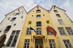 Old hotel Three sisters in Tallin medieval city downtown , Estonia. Stock Photos