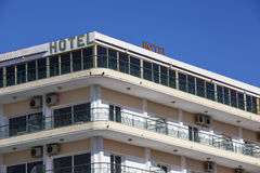 Old hotels roof top. Many balconies of an old hotel with air-conditions Royalty Free Stock Photography