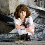 Old house. The young woman poses in ruins old house Stock Images