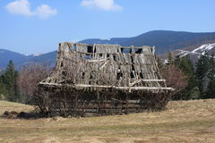 Old house. It's funny landscape. Collapse house Royalty Free Stock Image