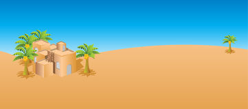 Old house. In the desert, palm trees and the Arabic house. Palm trees, sun and the desert Stock Photo