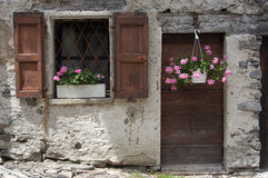 Old house. With flowers Stock Images