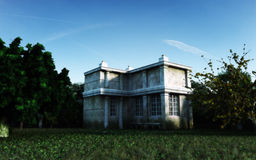 Old House. Old abandoned house with natural surroundings. Realistic sky and lighting. Suitable for any high resolution needs Stock Photography