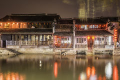 Old house along the river at night Royalty Free Stock Photography