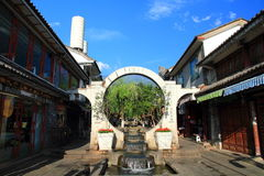 Old house in ancient city of Dali . City gate tower in Dali ancient city ,Dali Old City located in Yunnan Province china.The picture is the south gate of Dali Royalty Free Stock Photo