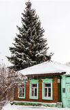 Old house in ancient Russian city in winter overcast day Royalty Free Stock Image