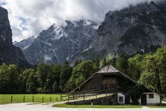 An old house around a forest of green pine trees under a mountain. Royalty Free Stock Photo
