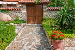 Old House Backyard. Yard and entrance of an old house in Sozopol, Bulgaria Royalty Free Stock Images