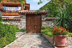 Old House Backyard. Yard and entrance of an old house in Sozopol, Bulgaria Royalty Free Stock Image