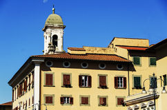 Old house with bell tower in Livorno Stock Images