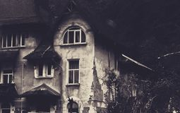 Old house. Black and white photo of a house Stock Photos