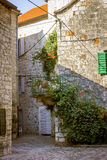 Old house building in old town of Hvar island, Croatia Royalty Free Stock Image