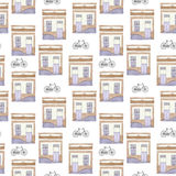 Old house and bycicle. Seamless pattern with building and bike. Stock Photography